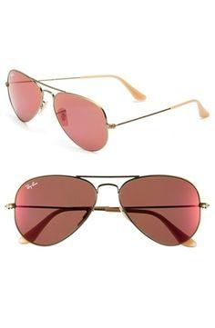 Women's Ray-Ban 'Original Aviator' 58mm Sunglasses - Bronze/ Red Mirror