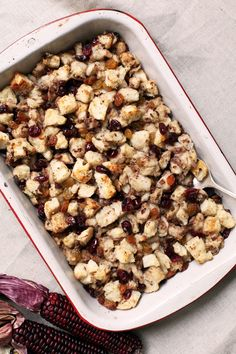 Canadian Syrian Thanksgiving Stuffing Recipe. In this, one of the more unique dressing side dishes you'll encounter, celery is replaced with roasted chestnuts, and golden raisins are mixed with cranberries — but the tender pillow of soft bread remains. The result of the combination of these beautiful ideas is a deliciously smoky-yet-sweet stuffing any turkey would love to be next to.