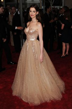 Anne Hathaway red carpet princess couture dress