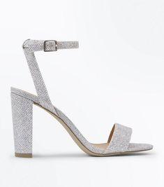 abcee8900e39 Silver Glitter Block Heel Sandals   New Look Silver Glitter, Platforms, Block  Heels,