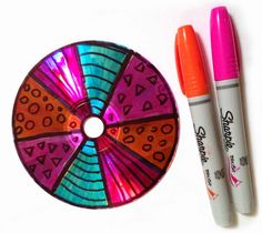 Art Projects for Kids: CDs and Brush Sharpie Markers