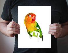 perroquet imprimer, imprimé géométrique, oeuvres d