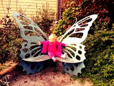 Butterfly bench in community garden