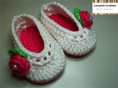 Crochet Ballerina Baby Slippers with Ribbon and Pearl---Ballerina Baby Shoes