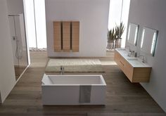 wood and white in the bathroom