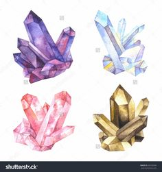 Major varieties of quartz: amethyst, rock crystal, rose quartz, smoky quartz. Watercolor illustration.