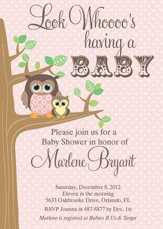 Mama & Baby Owl Polka Dot Baby Shower by PartyPopInvites on Etsy, $16.00