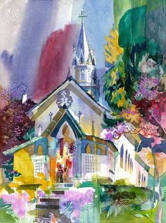 Ken Potter - St. Benedict's Painted Church, 1997, California art, original California watercolor art for sale, fine art print for sale, giclee watercolor print - CaliforniaWatercolor.com