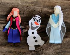 Inspired by the characters from Frozen. Princess Anna, Snow Queen Elsa, and snowman Olaf, Hair Clip, Bow, Pin or ornament