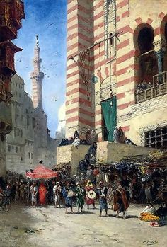 A procession in Cairo  By Narcisse Berchère - French, 1819-1891  oil on canvas , 61.5 x 42.2 cm