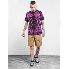 Male Tie-dyed Radial-pattern Cotton Short Sleeve T-shirt