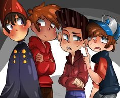 All Together by neokogendoshi (Wirt of Over the Garden Wall, Marco Diaz of Star vs The Forces of Evil, Norman of Paranorman, and Dipper Pines of Gravity Falls)