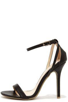 Adele 94 Black Vegan Snakeskin Ankle Strap Heels