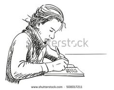 Sketch of girl writing in notebook Hand drawn vector illustration