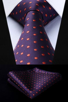 This is a beautiful trendy tie with matching pocket square silk. Wedding Handkerchief, Tie And Pocket Square, Classic Man, Suspenders, Silk Ties, Polka Dots, Orange, Purple, Party Wedding