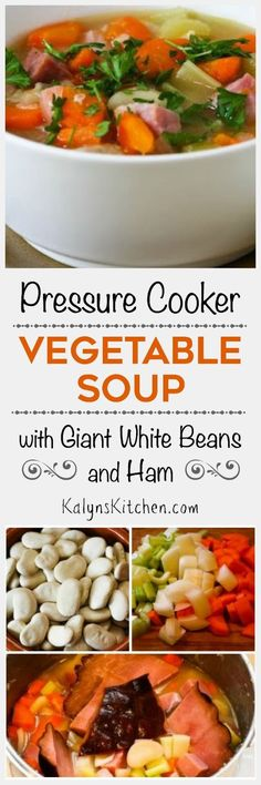 I love the colors and flavors in this easy Pressure Cooker Vegetable Soup with Giant White Beans, Ham, and Bay Leaves!  If you want less carbs, omit carrots and use more ham. [from KalynsKitchen.com]