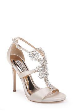 Ivory Leah Crystal Embellished T-Strap Evening Shoe