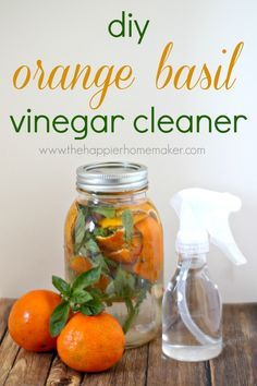 Making your own homemade vinegar cleaner doesn't mean your house has to stink after cleaning. This DIY Orange Basil Vinegar Cleaner leaves a light fresh scent you'll love! Homemade Cleaning Products, Natural Cleaning Products, Household Products, Household Tips, Diy Cleaners, Cleaners Homemade, Household Cleaners, Vinegar Cleaner, Limpieza Natural