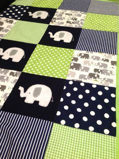 Elephant  Baby  Crib Quilt  in Navy blue and Lime green....Made after you order. $165.00, via Etsy.