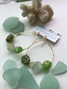 Gold plated Hawaiian Seaglass hoop earrings  by GirllovesSea
