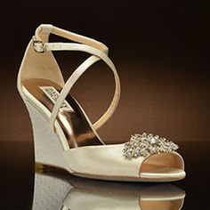 Abigail by Badgley Mischka Wedding Shoes at My Glass Slipper Bridal Wedges, Wedding Wedges, Wedge Wedding Shoes, Wedge Shoes, Badgley Mischka Shoes Wedding, Sparkly Wedding Shoes, Gladiator Shoes, Wedding Gifts For Guests, Shoes Photo
