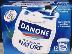 At first sight, we can see a a glass jar which give a feeling of  freshness with the blue and white colors which are Danone's colour code (secondary packaging).  There is a visual impact which aims at impulsing consumption because it arouses love of good food. However , the product is in fact in plastic. This creativity allows Danone to get round the simplicity of the product (classic-shaped and  and plays on the imagination of consumers.