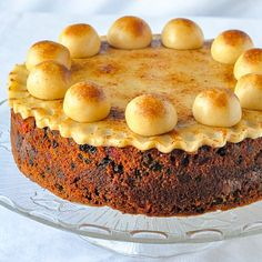 Simnel Cake - a British Easter tradition. A light fruitcake with a layer of marzipan baked in the centre then topped with a traditional marzipan decoration.