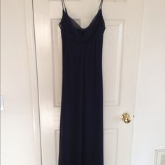 Just REDUCED Again! - Navy Blue Evening Dress dress is sheer w/navy blue satin lining. worn only once, but has few spots near bottom & arms, barely noticeable due to dark color, but can b dry-cleaned (dress tag says sz 5) Dresses