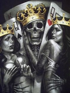 #tattoo #skull #sexy #hot #girl #versace #king #queen #crown #cards #hazzard
