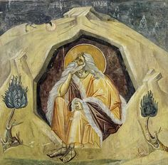 Prophet Elijah fed by a raven Gracanica Monastery Belgrade - Gallery of Frescoes (copied by Dunian Mihailovic) Religious Images, Religious Icons, Religious Art, Byzantine Icons, Byzantine Art, Medieval World, Medieval Art, Christian Artwork, Russian Icons