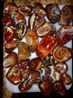 Dan's Pretties. Lake Superior Agates, Rock Collection, Pretzel Bites, Minerals, Rocks, Fruit, Gemstones, Crystals, Food
