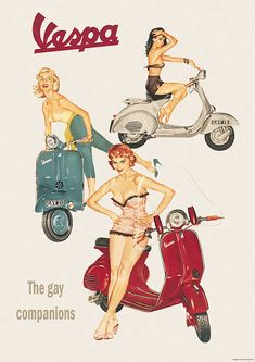 Vespa Classic Scooter 'The Gay Companions' Picture Poster Print A1 2 variations | eBay