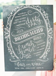#chalkboard, #menu  Photography: Jen Huang Photography - jenhuangphotography.com Floral Design: CocoRosie - laviencocorosie.com  Read More: http://www.stylemepretty.com/2012/11/20/hudson-valley-wedding-at-ham-house-from-jen-huang/