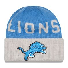 dae61e7e395 Men s Detroit Lions New Era Blue Heather Gray Classic Cover Cuffed Knit Hat