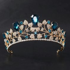 Cheap bridal crown, Buy Quality crown tiara directly from China fashion crown Suppliers: New Arrival Magnificent Blue Red Rhinestone Bridal Crown Tiaras Fashion Golden Diadem for Women Wedding Hair Accessories Jewelry Bridal Crown, Bridal Tiara, Bridal Headpieces, Bridal Jewellery, Wedding Jewelry, Royal Jewels, Crown Jewels, Cute Jewelry, Hair Jewelry