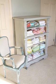 repurposed dresser for fabric storage