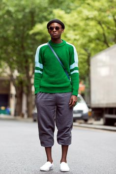 The 21 Most Fashionable Fellas In London #refinery29  http://www.refinery29.com/london-mens-fashion#slide7  The green woolen jumper of our dreams.