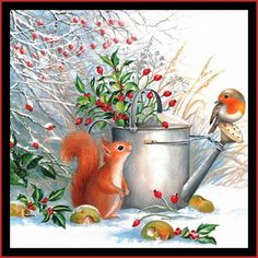 Other Home Arts & Crafts Bird Squirrel Snow 2 Individual Lunch Size Paper Napkins For Decoupage & Garden Decoupage Glass, Napkin Decoupage, Paper Vase, Paper Napkins For Decoupage, Decorative Paper Napkins, Christmas Paper Napkins, Motifs Animal, Red Squirrel, Butterfly Watercolor