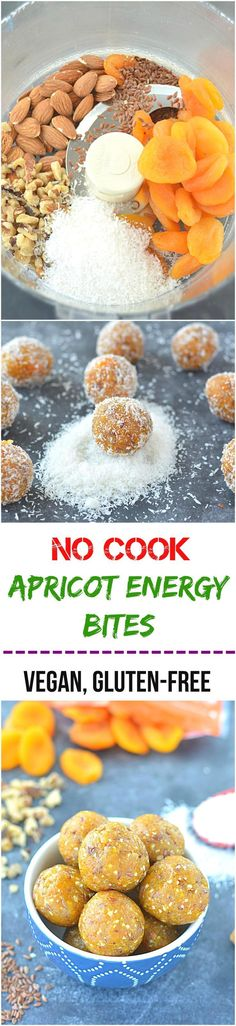 An amazingly delicious no cook apricot energy bites is a perfect snack made with flax seeds, healthy nuts and desiccated coconut! Above all, it is sugar-free, gluten- free and vegan! (Gluten Free Recipes For Dessert) Vegan Desserts, Raw Food Recipes, Snack Recipes, Cooking Recipes, Healthy Recipes, Diet Recipes, Easy Cooking, Snacks Ideas, Cooking Ideas
