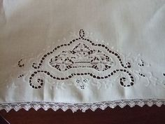 "18 x 28"" Hand Made Huck Linen Towel With Cutwork, Embroidery, Etc from topdraw on Ruby Lane"