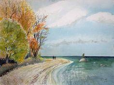Herbst am Südstrand von Sellin (c) Rügen Aquarell von FRank Koebsch Baltic Sea, Moma, The Good Place, Waves, Artwork, Painting, Outdoor, Watercolors, Random Stuff