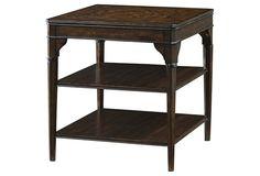 Melanie Walnut Side Table, Dark Brown