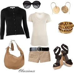 Khaki shorts, black sweater, cream shirt