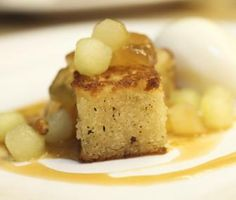 Brown butter cake with caramelized apples and sour beer caramel (where can I find almond flour and sour beer?)