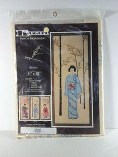 """Kazari Punch Embroidery 11""""x28"""" Kit #G-2 Japanese Woman Kimono  Bamboo"""
