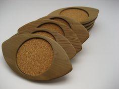 Vintage Sere Japan Teak Cork Coasters by BelleBloomVintage on Etsy, $14.95