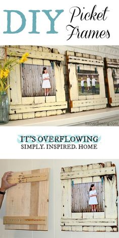 DIY Picket Frame Tutorial - Easy and SO Cute! @ItsOverflowing.com.com.com.com.com.com.com.com.com