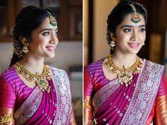 Indian Bridal Photos, Indian Bridal Fashion, Indian Wedding Outfits, Saree Hairstyles, Indian Bridal Hairstyles, Pattu Saree Blouse Designs, Half Saree Designs, Half Saree Lehenga, Saree Dress