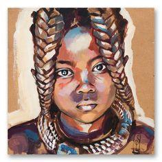 "Image of Paper Art Print - ""Enfant Himba 2"""