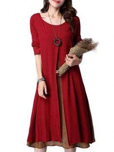 Only US$19.89 , shop Ruffles Linen Cotton Patchwork Long Sleeve Loose Dress at Banggood.com. Buy fashion Vintage Dresses online.